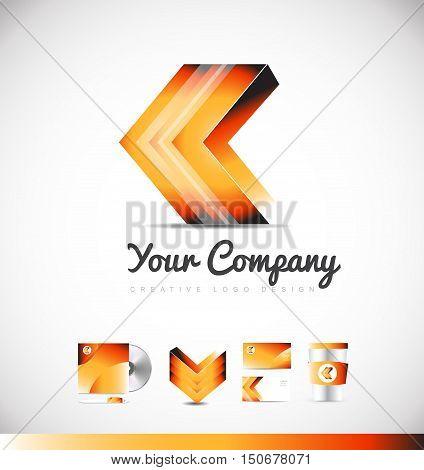 Arrow forward concept orange vector logo 3d icon sign design template corporate identity