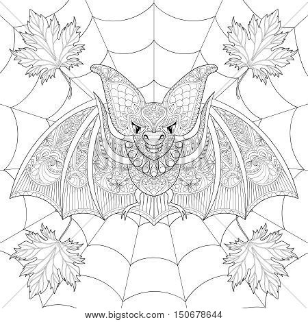 Zentangle stylized Bat with fall autumn leaves on spider web for Halloween. Freehand sketch for adult anti stress coloring page with cobweb doodle elements. Artistic ethnic black vector illustration for  t-shirt print