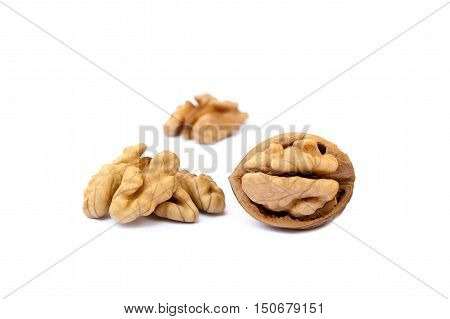 Healty fresh walnuts isolated with white background