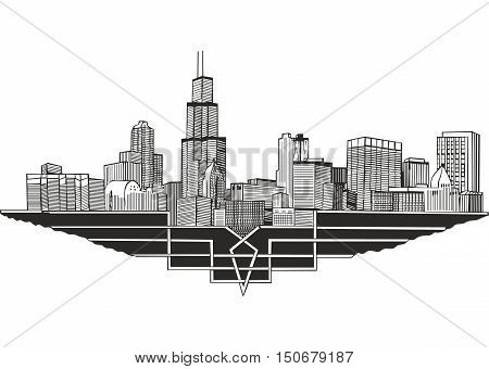 Cityscape and skyline of Chicago Illinois. Architectural landscape of the city of Chicago.