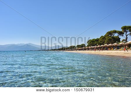 Marathon Greece - Oct 01 2016: Beautiful Schinias sandy beach one from most popular beach in Attica