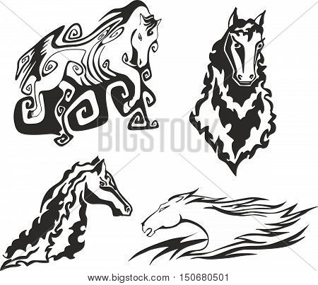 Set of four black and white sketches of horses and steeds for tribal tattoo stencils