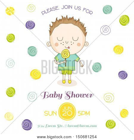 Baby Shower or Arrival Card - Baby Boy with a Candy - in vector