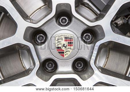 Bangkok - March 22 : logo of Porsche on wheel - in display at The 37th Bangkok international Motor Show 2016 on March 22 2016 in Bangkok Thailand