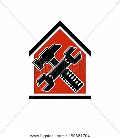 Spanner and mallet crossed industrial utensil building construction. Simple vector house with work tools workshop.