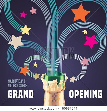 Grand opening vector illustration, background with graphic fireworks and bottle of champagne. Template banner, flyer, design element, decoration for opening ceremony