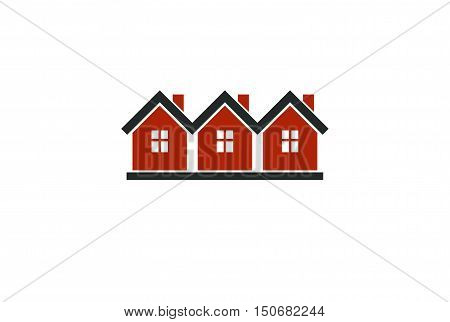 Simple cottages vector illustration country houses for use in graphic design. Real estate concept region or district theme.