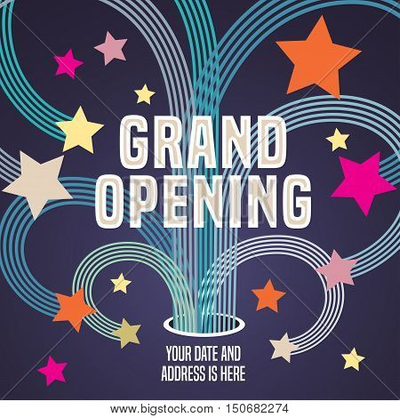 Grand opening vector illustration, background with graphic swirls and fireworks. Template banner, flyer, design element, decoration for opening event