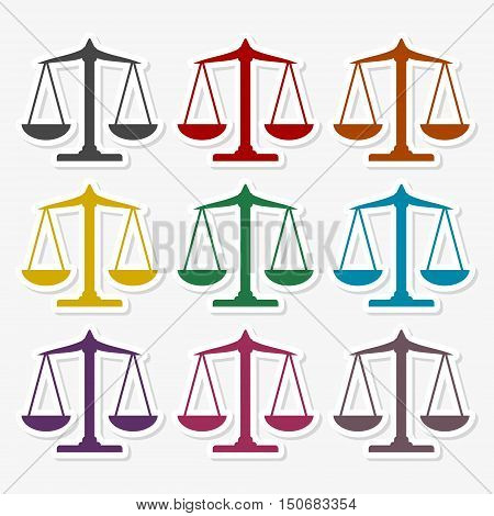 Scales balance icon, Justice Scale sticker set