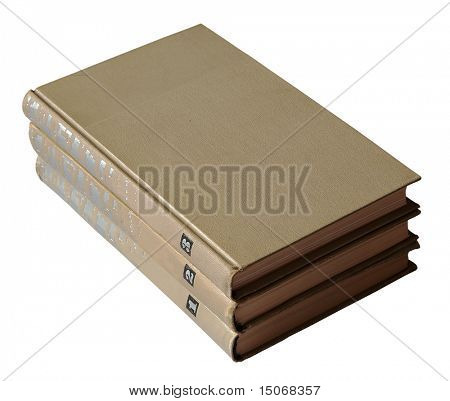 collected works, old books isolated on white background with clipping path