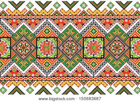Embroidered old handmade cross-stitch ethnic Ukrainian pattern