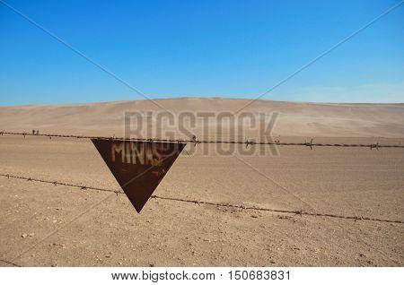 Landmine sign at Atacama desert, Arica, Chile