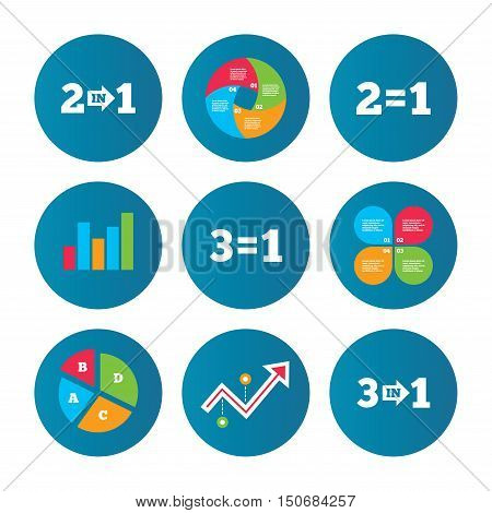 Business pie chart. Growth curve. Presentation buttons. Special offer icons. Take two pay for one sign symbols. Profit at saving. Data analysis. Vector