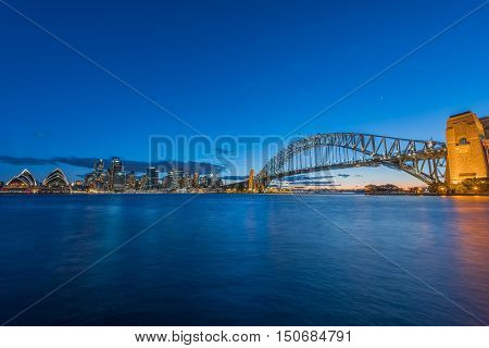 View of Sydney Harbour and Sydney City Sydney Australia at sunset from Milsons Point. Oct 07,2016  Sydney Harbour Sydney Australia is beautiful meandering waterway,famous around the word.