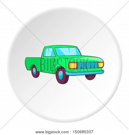 Pickup icon in cartoon style isolated on white circle background. Transport symbol vector illustration