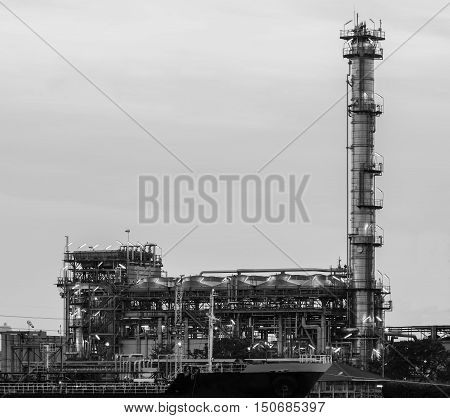 Black and White, Oil refinery power plant, industrial background