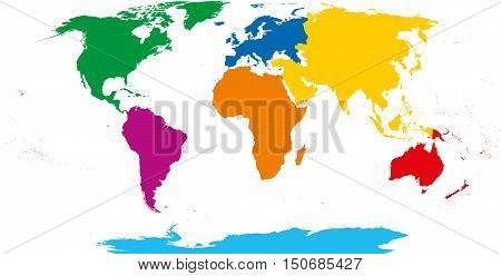 Seven continents map. Asia yellow, Africa orange, North America green, South America purple, Antarctica cyan, Europe blue and Australia in red color. Robinson projection over white. Illustration.