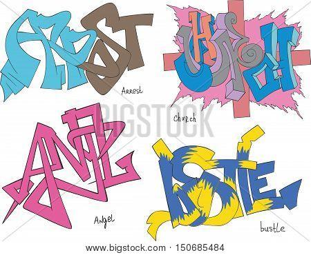 Arrest, Church, Angel And Bustle Graffiti
