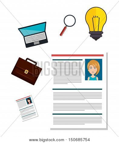 woman curriculum vitae and human resources icon set. colorful design. vector illustration