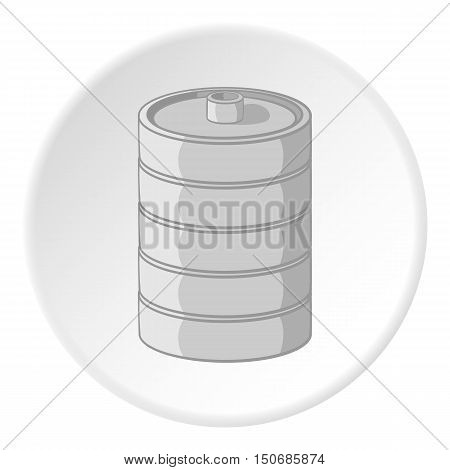 Aluminum barrel for beer icon in cartoon style isolated on white circle background. Capacity symbol vector illustration