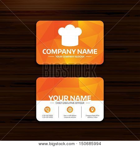 Business or visiting card template. Chief hat sign icon. Cooking symbol. Cooks hat. Phone, globe and pointer icons. Vector