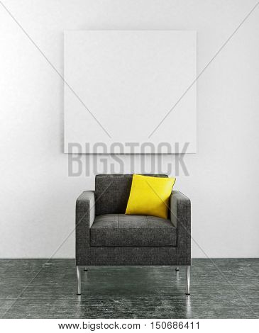 Centered lounge chair with little yellow pillow and blank square frame hanging on wall. 3d Rendering.