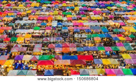 Aerial view multiple colour Bangkok city night market night view, Thailand