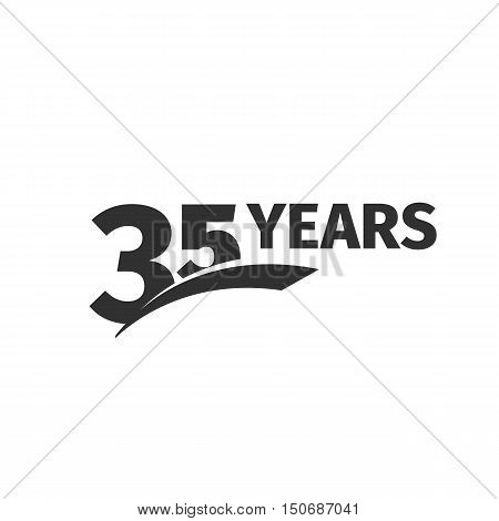 Isolated abstract black 35th anniversary logo on white background. 35 number logotype. Thirty-five years jubilee celebration icon. Thirty-fifth birthday emblem. Vector anniversary illustration