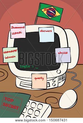 weak computer password security policy vector illustration