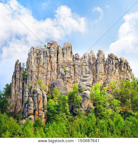Amazing rock formation from sandstone towers in beautiful landscape. Sucha skala, Cesky Raj, Czech Paradise in Czech Republic, Central Europe. Wonders in european nature.