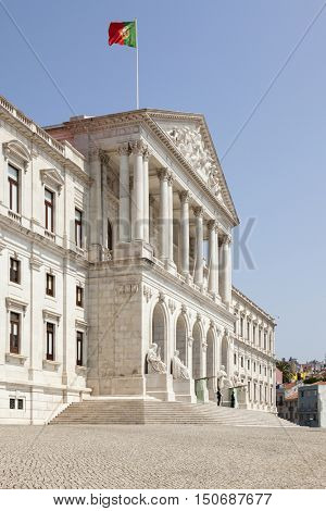Lisbon, Portugal -  July 2, 2013: Sao Bento Palace, seat of the Assembly of the Republic.