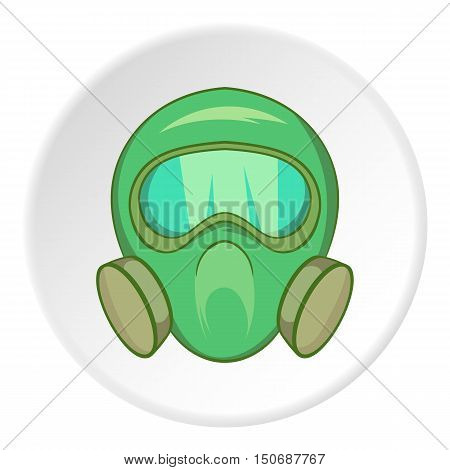 Gas mask icon in cartoon style isolated on white circle background. Equipment symbol vector illustration
