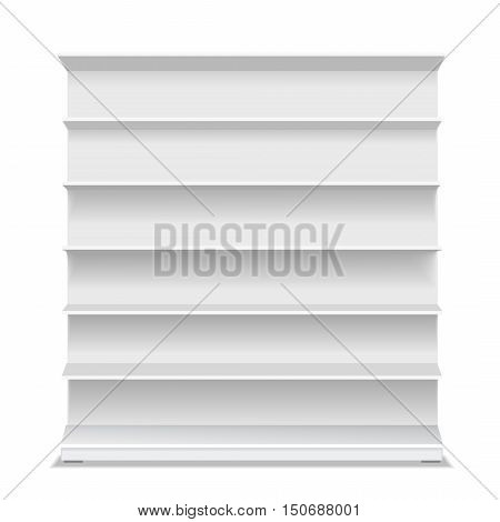 Supermarket blank shelf. Empty white long retail showcase for products on white background. Vector 3D illustration isolated.