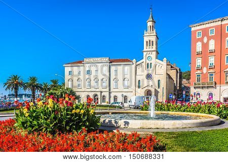 View at St. Francis Church in coastal town Split, Croatia Europe.
