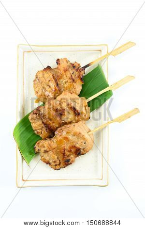 Thai styled pork barbeque (Grilled pork) isolated on white background