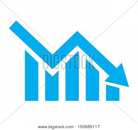 chart with bars declining. Chart icon. Decline graph symbol.