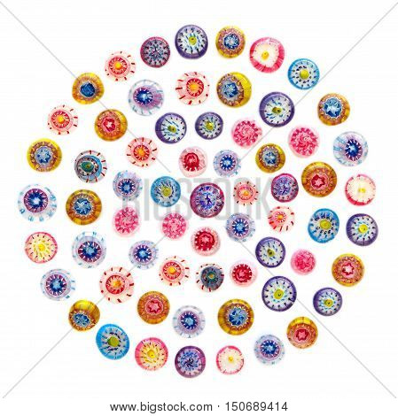 Many beads of colored glass. colored Venetian glass Murano glass millefiori. Flat lay top view