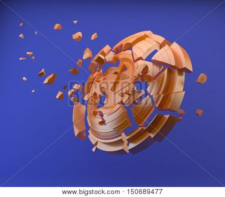 3d shattered clay target for shooting on a blue sky