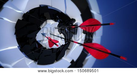championship 3d crushed archery target with arrows on blue background