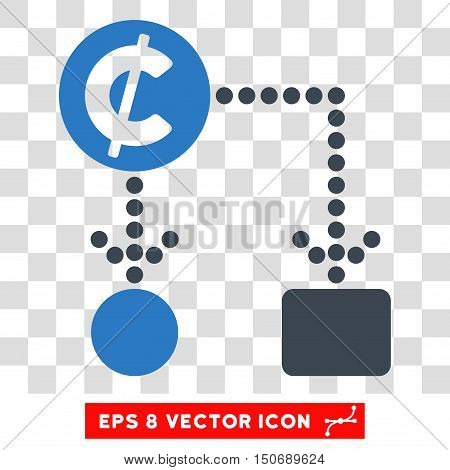 Vector Cent Cashflow EPS vector pictograph. Illustration style is flat iconic bicolor smooth blue symbol on a transparent background.