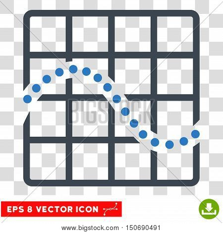Vector Function Chart EPS vector pictograph. Illustration style is flat iconic bicolor smooth blue symbol on a transparent background.