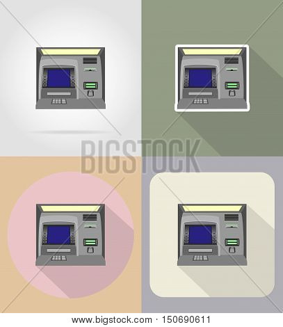 atm flat icons vector illustration isolated on background