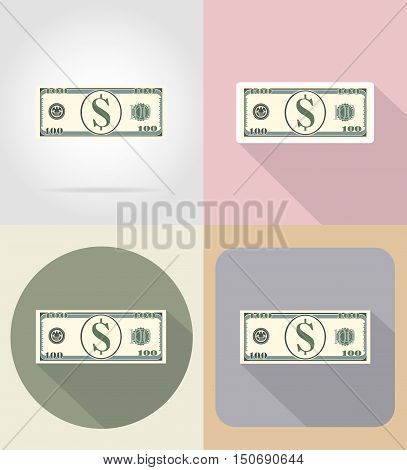 banknote one hundred dollars flat icons vector illustration isolated on background