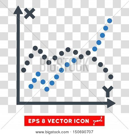 Vector Functions Plot EPS vector icon. Illustration style is flat iconic bicolor smooth blue symbol on a transparent background.