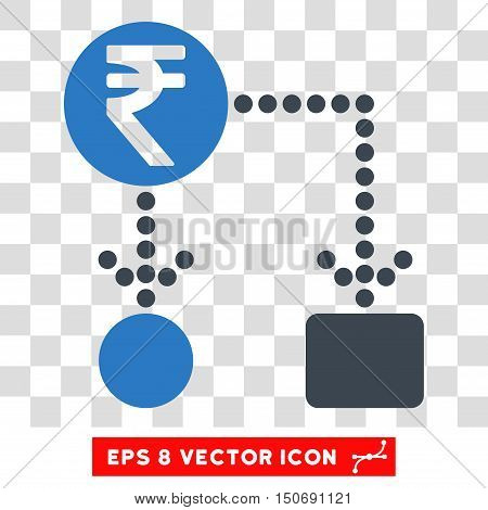 Vector Indian Rupee Cashflow EPS vector pictogram. Illustration style is flat iconic bicolor smooth blue symbol on a transparent background.