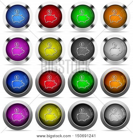 Set of turkish Lira piggy bank glossy web buttons. Arranged layer structure.