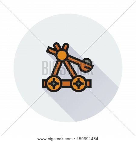 old medieval wooden catapult icon on round background Created For Mobile Infographics Web Decor Print Products Applications. Icon isolated. Vector illustration