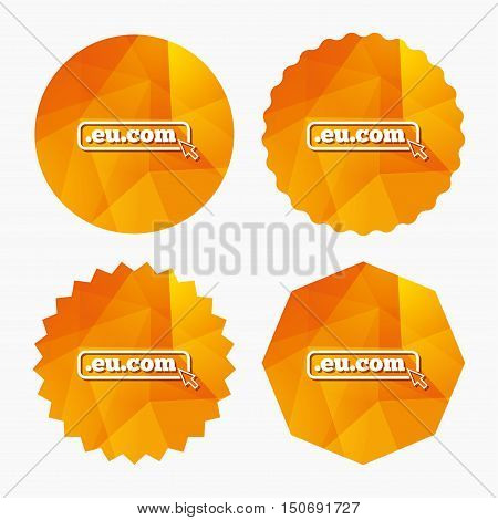 Domain EU.COM sign icon. Internet subdomain symbol with cursor pointer. Triangular low poly buttons with flat icon. Vector