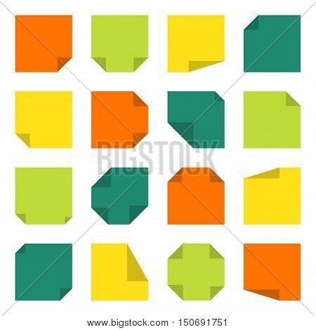 Set of sticky notes flat design. Vector illustration
