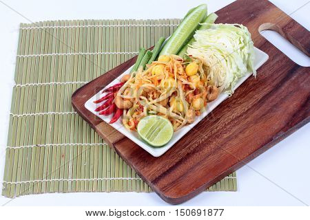 Vegetable festival ,spicy papaya salad as lentils,cucumber,cashew nuts,ginkgo,tomato,red chili and green lemon with mixed vegetable call